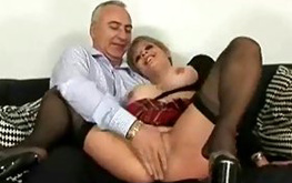 Naughty blonde slut let me try her bazookas