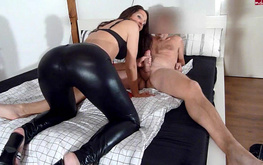 Awesome amateur in leather pants poses hot and gets fucked