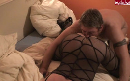 Adorable amateur in black bodystocking jumps on a big boner