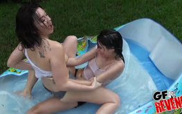 Horny Riley Carson and Angelina Mylee are sucking in outdoor pool